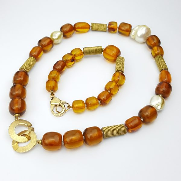 BPS-3 Baltic Amber Beads South Sea Pearls Set of Stunning Jewelry with Vintage Sulawesi gold plate beads