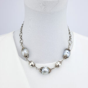 Baroque Pearl Necklace 16 to 19mm Oxidized Sterling Silver 50cm adjustable