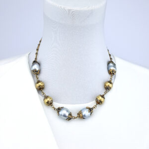 South Sea Pearls 18kt Gold Plate on Sterling Silver Antique Finish Necklace Adjustable 52cm