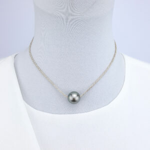 Tahitian Pearl Pendant on Sterling Silver Chain Simple Necklace