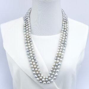 Classic 3 Strand Silver Grey South Sea Baroque Pearls 75cm graduating to 80cm