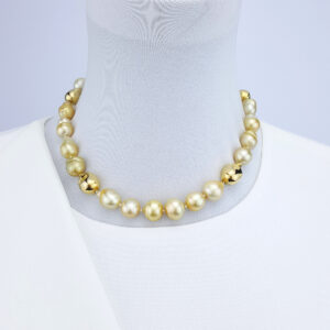 Gold South Sea Pearls Necklace with Gold Plated Pearls and Clasp