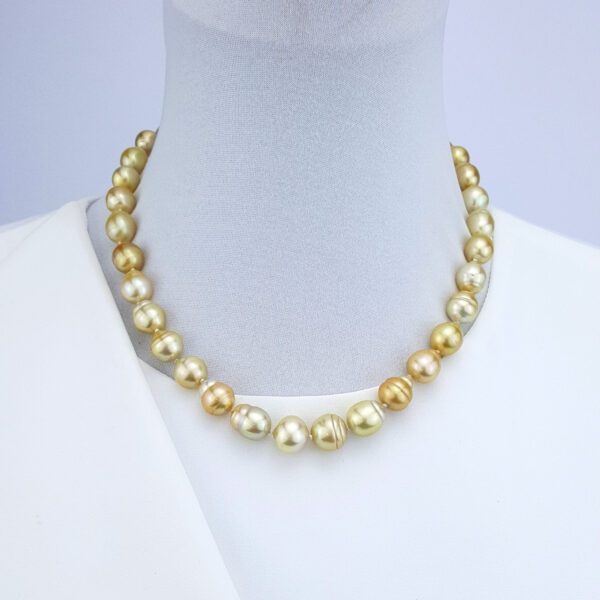 Beautiful Lustre Gold South Sea Pearls Necklace with Vintage Gold Plated Pearl and Clasp