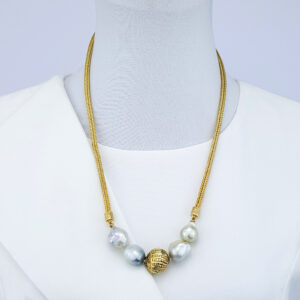 Very Large South Sea Baroque Pearls Vintage Sumatran Gold Plated Bead and Gold Plated Sterling Chain