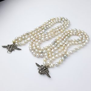 3 Strand Small Lustrous South Sea White Pearls Vintage Silver Javanese Clasp with Intan Diamonds Necklace