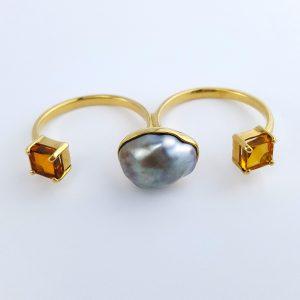 RI-34b 2 Finger Ring Zambian Citrine Tahitian Pearl Gold Plate fits many sizes