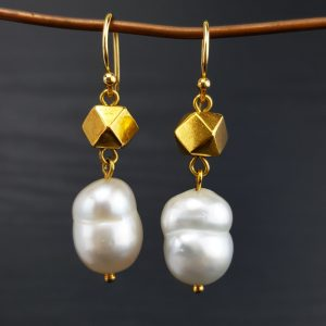 ER-110b White South Sea Pearls Antique Sumatran Gold Beads and 18kt Wire