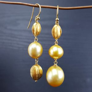 ER-114a Gold South Sea Pearls with Antique Sumatran Gold Star Fruit Beads 18kt wire Asymmetrically Perfect