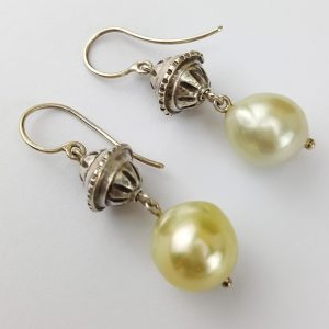 ER-118b South Sea Pearls Sterling Vintage Bead and Wire