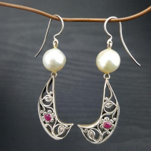 ER-120b South Sea Pearls Sterling Wire and Vintage Ruby and Intan Decoration