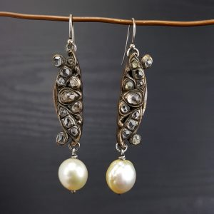 ER-121b South Sea Pearls Vintage Intan Decoration and Sterling Wires
