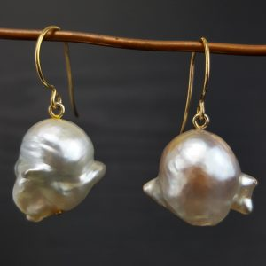 ER-98b Very Baroque South Sea Pearls 18kt Gold