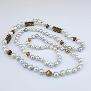 NK-109a Sumatran Vintage Bead Gold Plated and South Sea Pearls