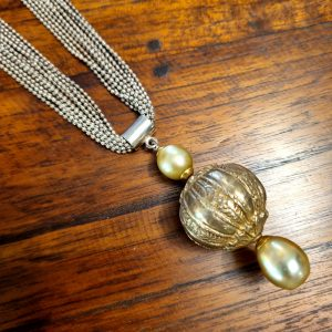 NK-113b Rare Sumatran Vintage Gold Plated Bead with Two Lustrous Gold South Sea Pearls Sterling Silver Chain