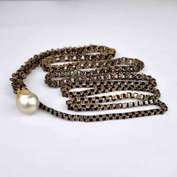 NK-114a Vintage Sumatran Snake Vertebrae Style in Silver/Brass alloy with South Sea Pearl Clasp