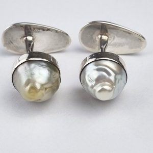 CF-4c Cufflinks Sterling Silver with South Sea Pearls