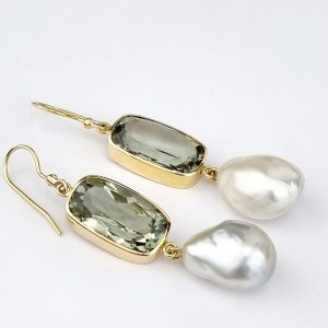 ER-126b Gorgeous Ametrine and South Sea Pearls with Gold Earring