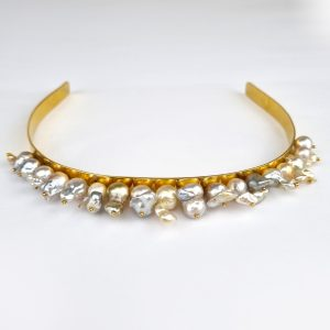HB-2b Gold Wash Sterling Silver Headband with South Sea Baroque Pearls